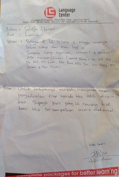 cerita alumni kampung inggris LC - zulfin hariani