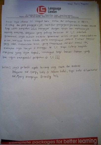 Cerita alumni LC kampung inggris - Wayi fariz