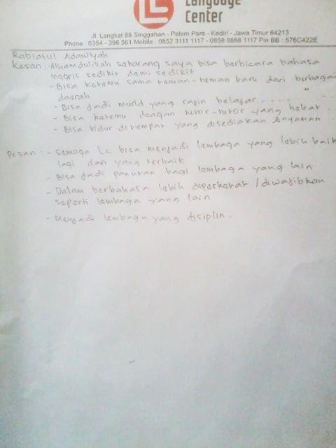 LC kampung inggris testi