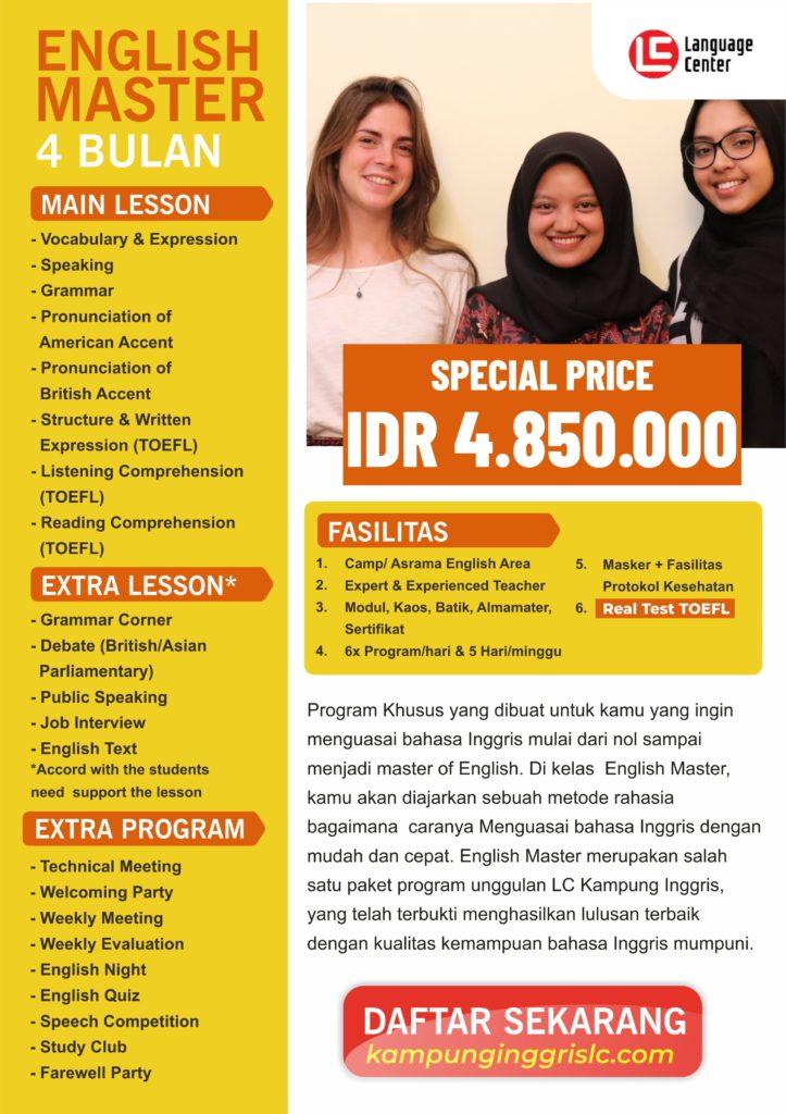Paket English Master 4 Bulan