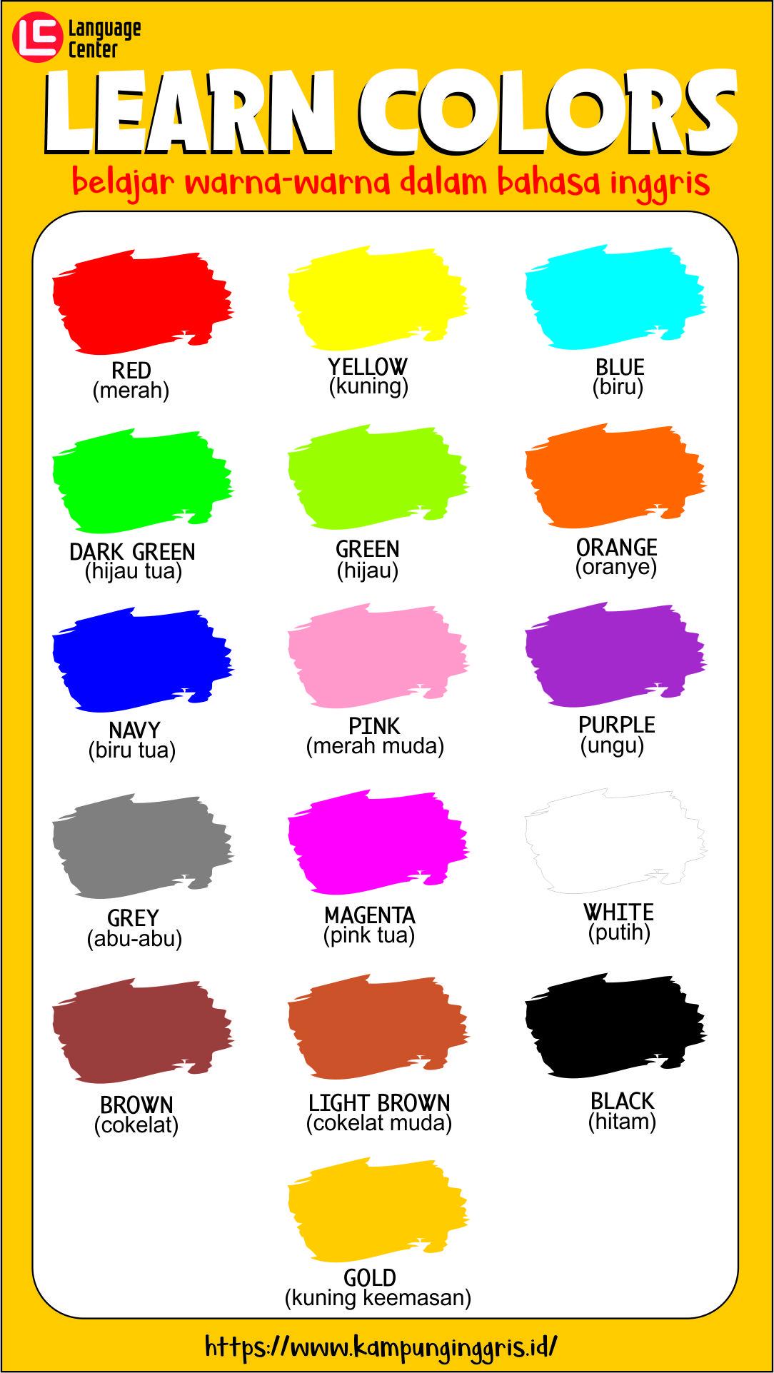 Nama-Nama Warna dalam Bahasa Inggris dan Contoh Percakapan